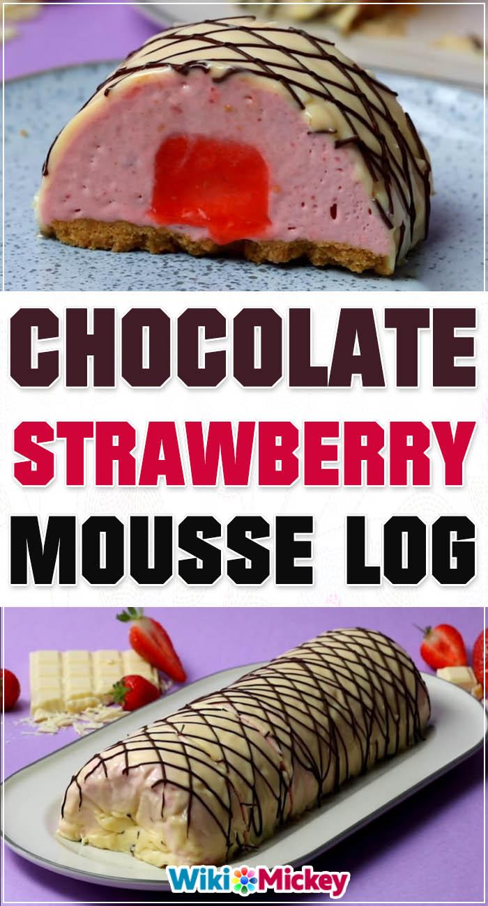 Chocolate Strawberry Mousse Log 3