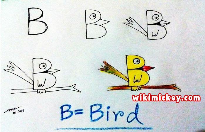 easy drawing ideas for kids easy draw bird from letter b kolay çizim karınca kuş resmi draw step by step