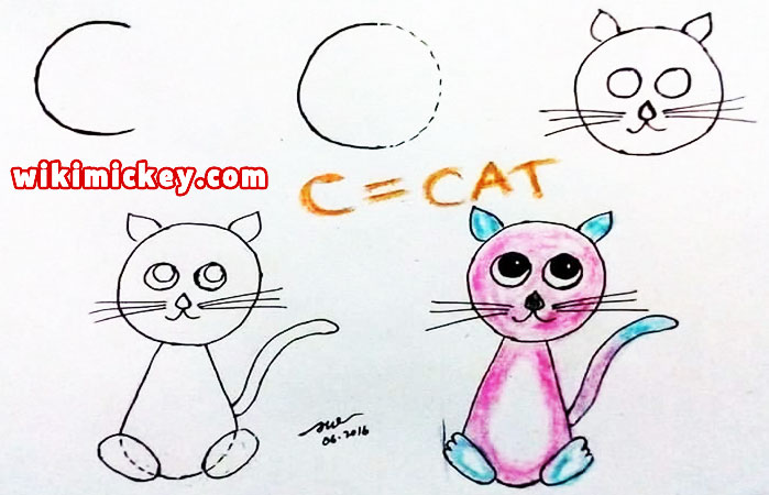 easy drawing ideas for kids easy draw cat kitten from letter c kolay çizim kedi draw animal from letters step by step