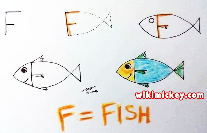 easy drawing ideas for kids easy draw fish dinosaur from letter f kolay çizim balık dinozor draw animal from letters step by step