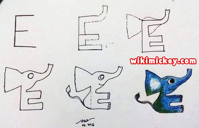easy drawing ideas for kids easy draw elephant from letter e kolay çizim fil draw animal from letters step by step