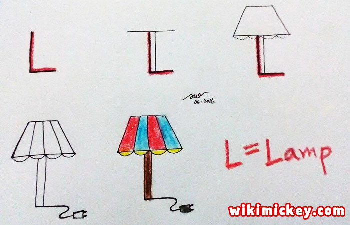 easy drawing ideas for kids easy draw lamp from letter l kolay çizim lamba draw animal from letters step by step