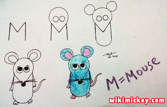 easy drawing ideas for kids easy draw mouse from letter m kolay çizim fare draw animal from letters step by step