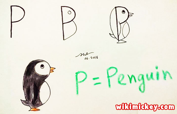 easy drawing ideas for kids easy draw penguin from letter p kolay çizim penguen draw animal from letters step by step