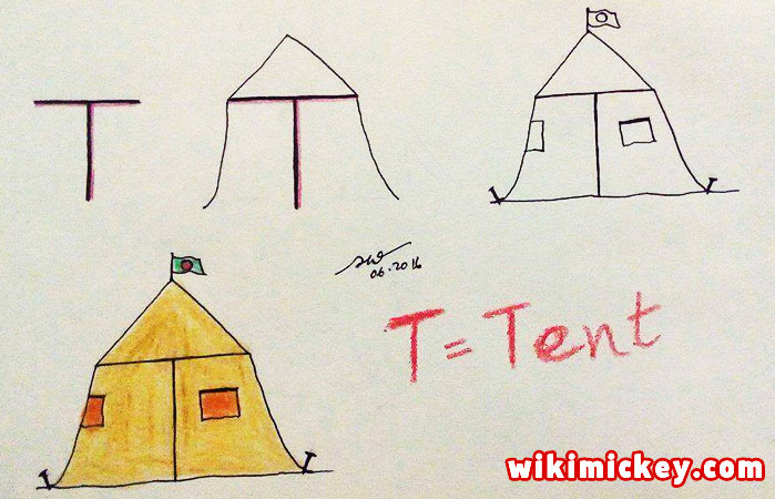 easy drawing ideas for kids easy draw tent from letter t kolay çizim çadır draw animal from letters step by step