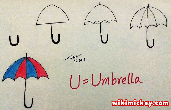 easy drawing ideas for kids easy draw umbrella from letter u kolay çizim şemsiye draw animal from letters step by step