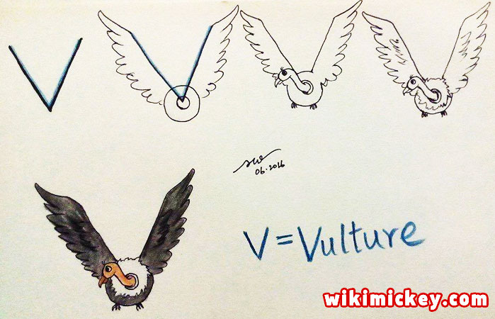 easy drawing ideas for kids easy draw vulture from letter v kolay çizim akbaba kartal draw animal from letters step by step
