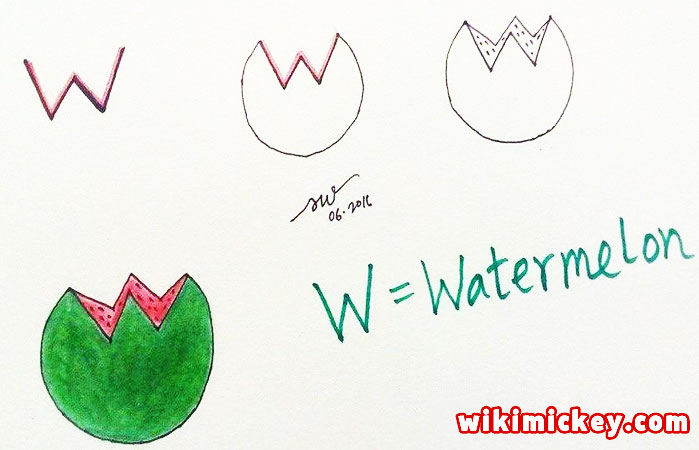 easy drawing ideas for kids easy draw watermelon from letter w kolay çizim akbaba karpuz draw animal from letters step by step