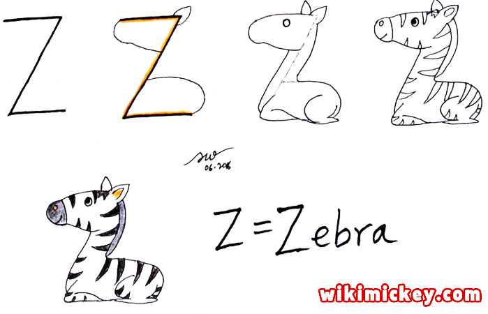 easy drawing ideas for kids easy draw zebra from letter z kolay çizim zebra draw animal from letters step by step