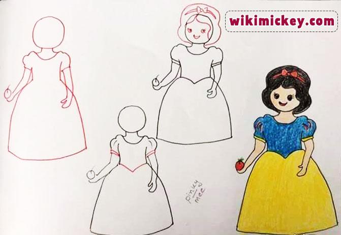 easy drawing ideas for kids easy draw princess snow white kolay çizim prenses