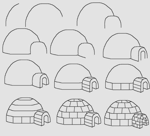 easy drawing ideas for kids easy draw igloo kolay çizim iglo eskimo evi resmi draw step by step
