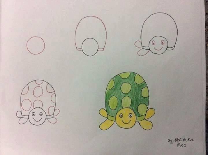 easy drawing ideas for kids easy draw turtle kolay çizim kaplumbağa kuş draw step by step