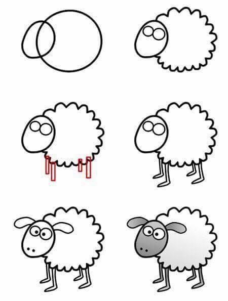 easy drawing ideas for kids easy draw sheep lamb kolay çizim koyun kuzu resmi draw step by step