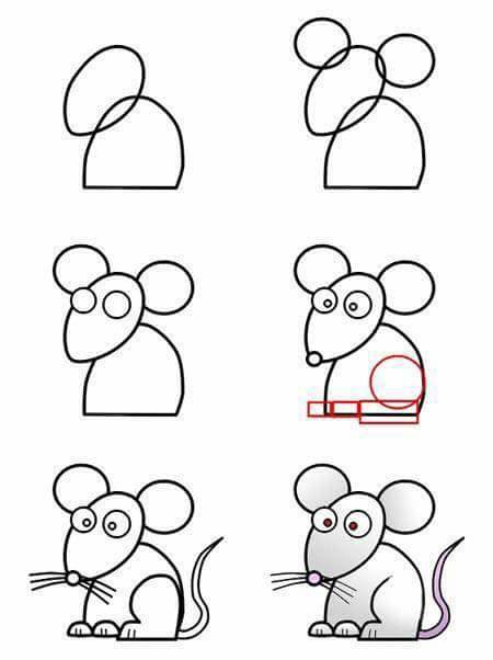 easy drawing ideas for kids easy draw cute mouse kolay çizim fare resmi draw mouse step by step