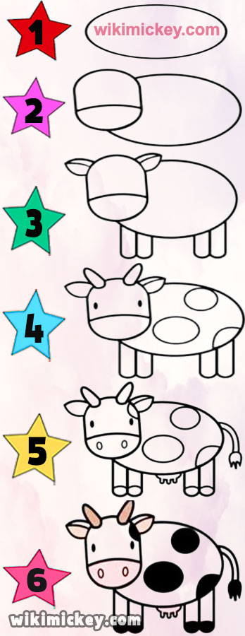 easy drawing ideas for kids easy draw cow calf vache inek kolay cizim