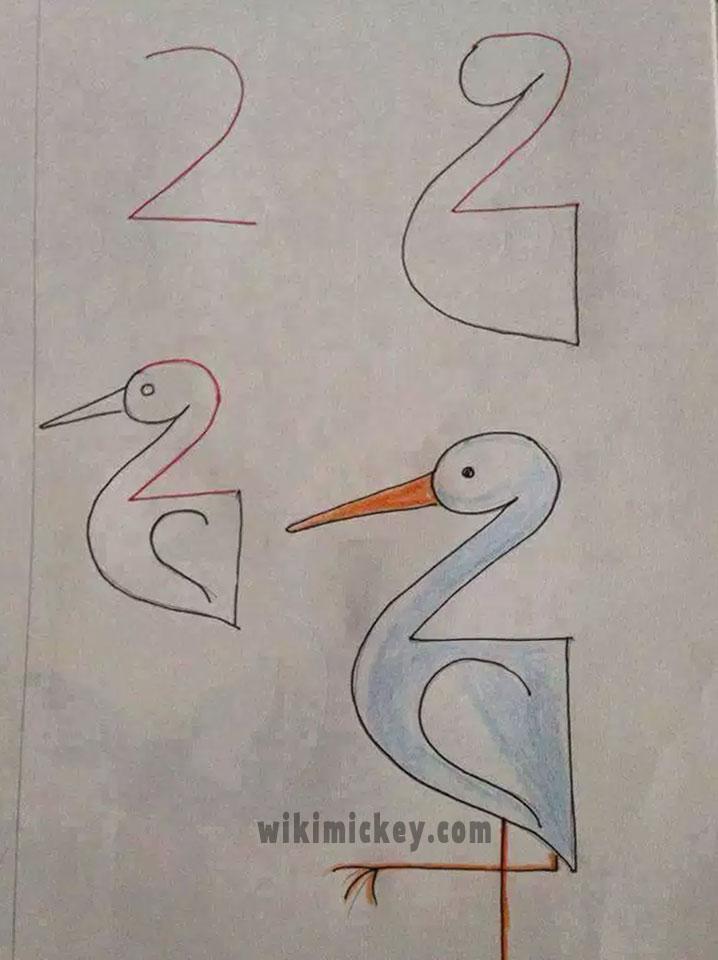 easy drawing ideas for kids easy draw stork kolay çizim leylek